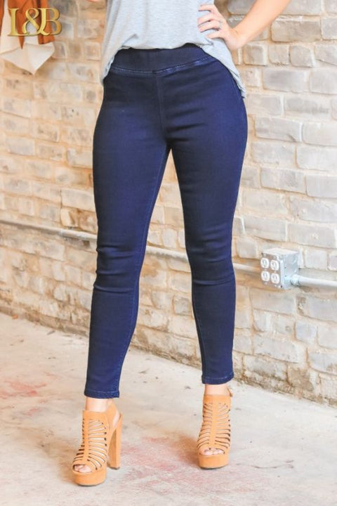 Navy Blue High Waisted Jeggings