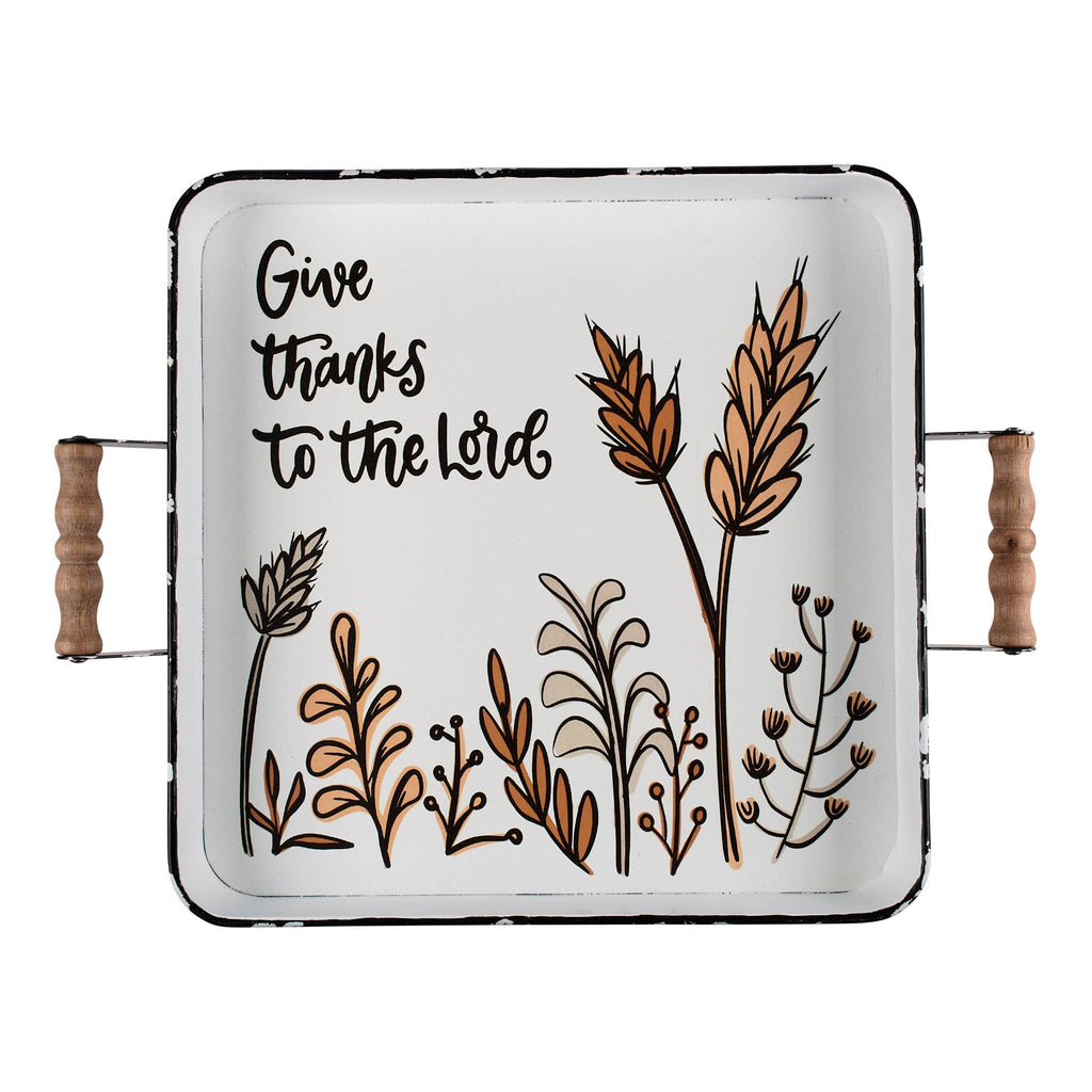 Give Thanks To The Lord Enamel Tray