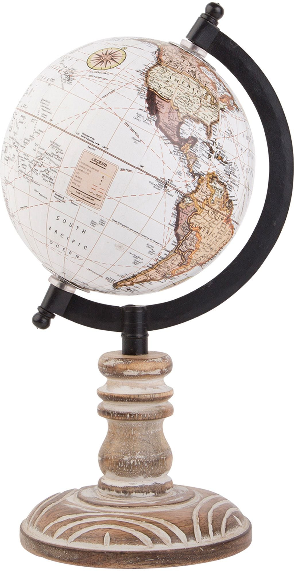 Neutral Color Globe on Wood Base | Cornell's Country Store