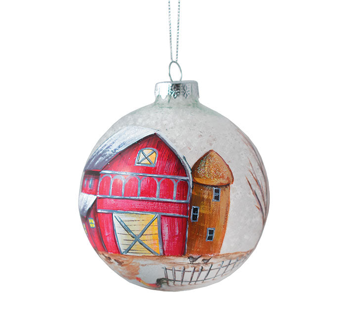 Glass Red Barn Ornament - Round