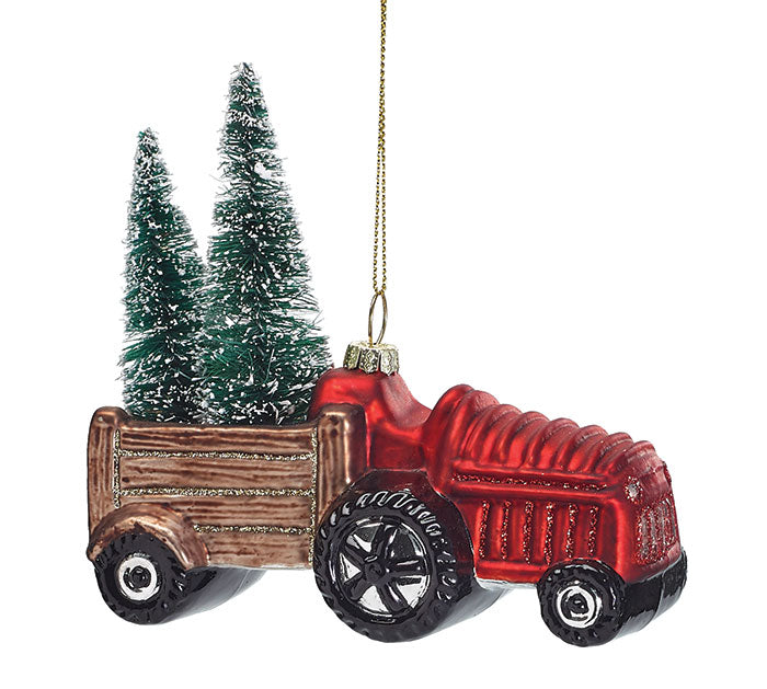 Blown Glass Red Tractor and Trailer Ornament