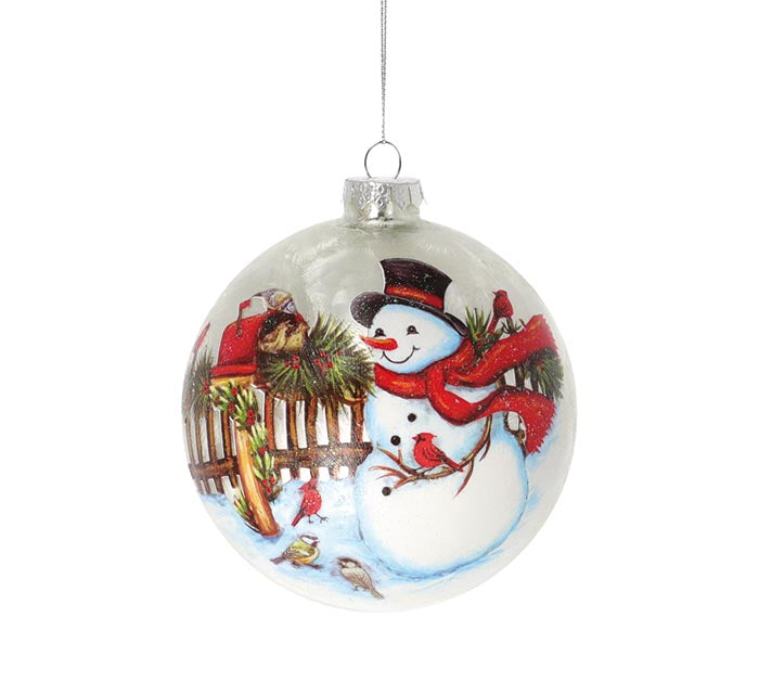 Glass Snowman at Mailbox Ornament