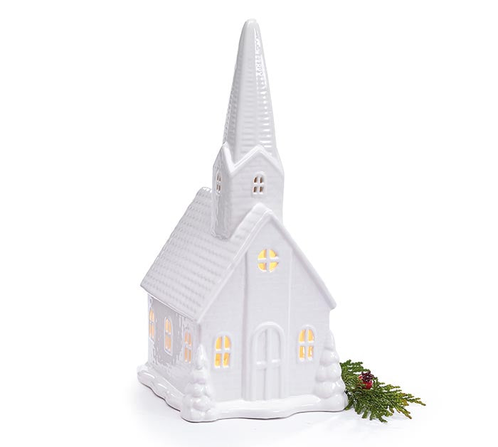 Large Lighted White Porcelain Church | Cornell's Country Store