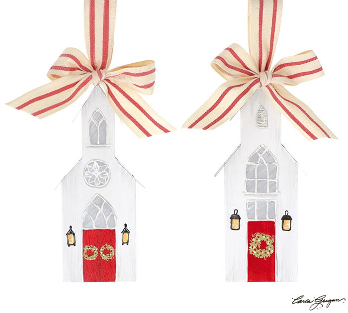 Hand Painted White Chapel Church Ornaments