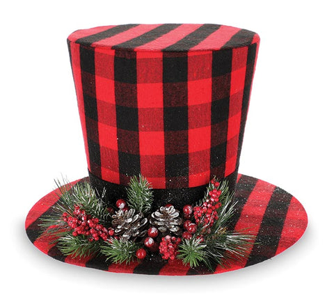 Red Buffalo Plaid Snowman Hat Tree Topper | Cornell's Country Store