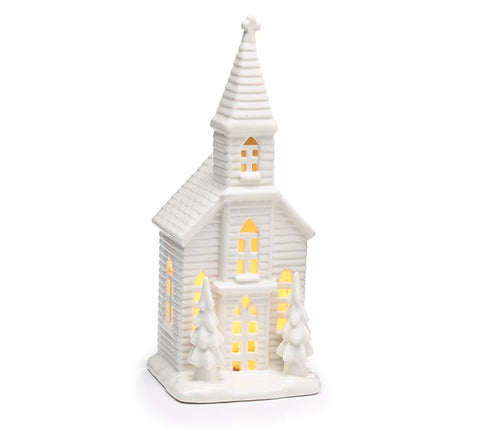 Medium Light Up White Porcelain Church