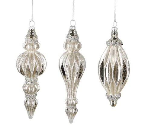 Silver Mercury Glass Finial Ornament | Cornell's Country Store