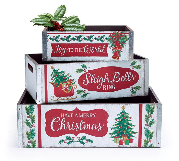 Christmas Greetings Nested Crate Set | Cornell's Country Store