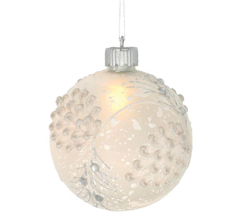 Light Up Snowy Pinecone Ornament
