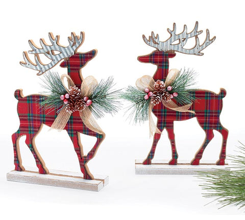 Set of Two Tartan Plaid Standing Deer | Cornell's Country Store