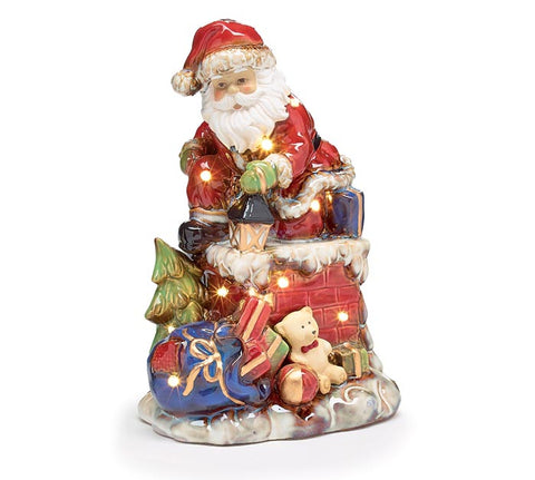 Lighted Santa in Chimney Figurine | Cornell's Country Store