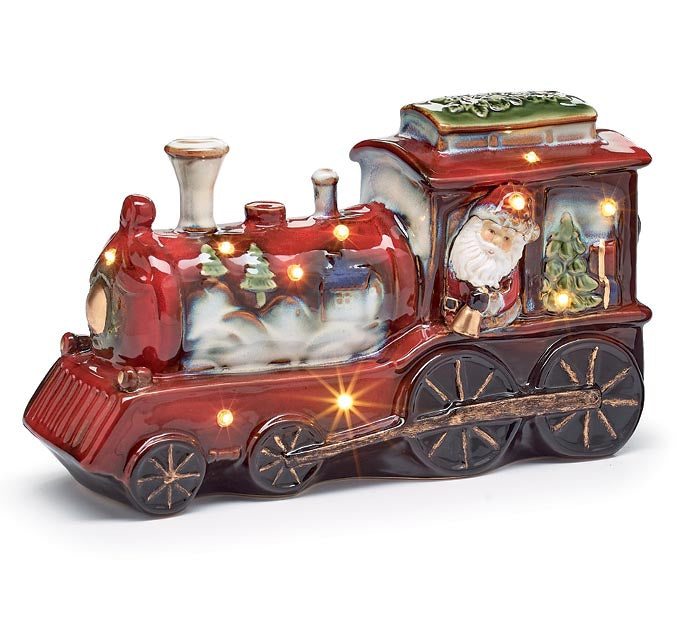 Santa Inside Lighted Train Figurine | Cornell's Country Store
