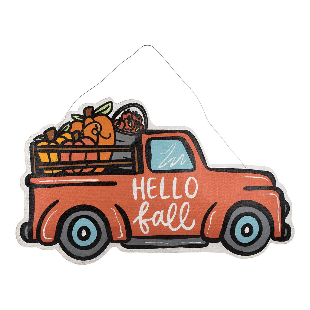 Hello Fall Merry Christmas Burlap Door Hanger