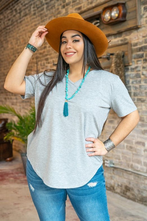 Heather Grey V Neck Top - Plus Size | Cornell's Country Store