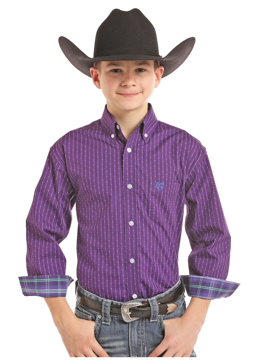 Panhandle Slim Boys Long Sleeve Button Down Purple Shirt