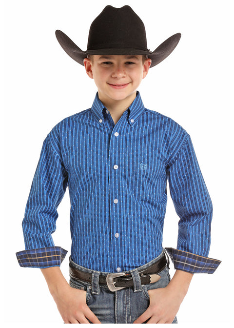 Panhandle Sleeve Boys Long Sleeve Button Down Blue Shirt