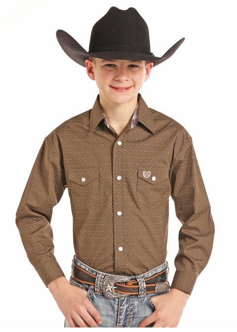 Panhandle Slim Boys Long Sleeve Button Down Brown Shirt