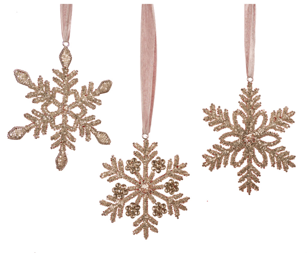 Glass Beaded Snowflakes Ornaments