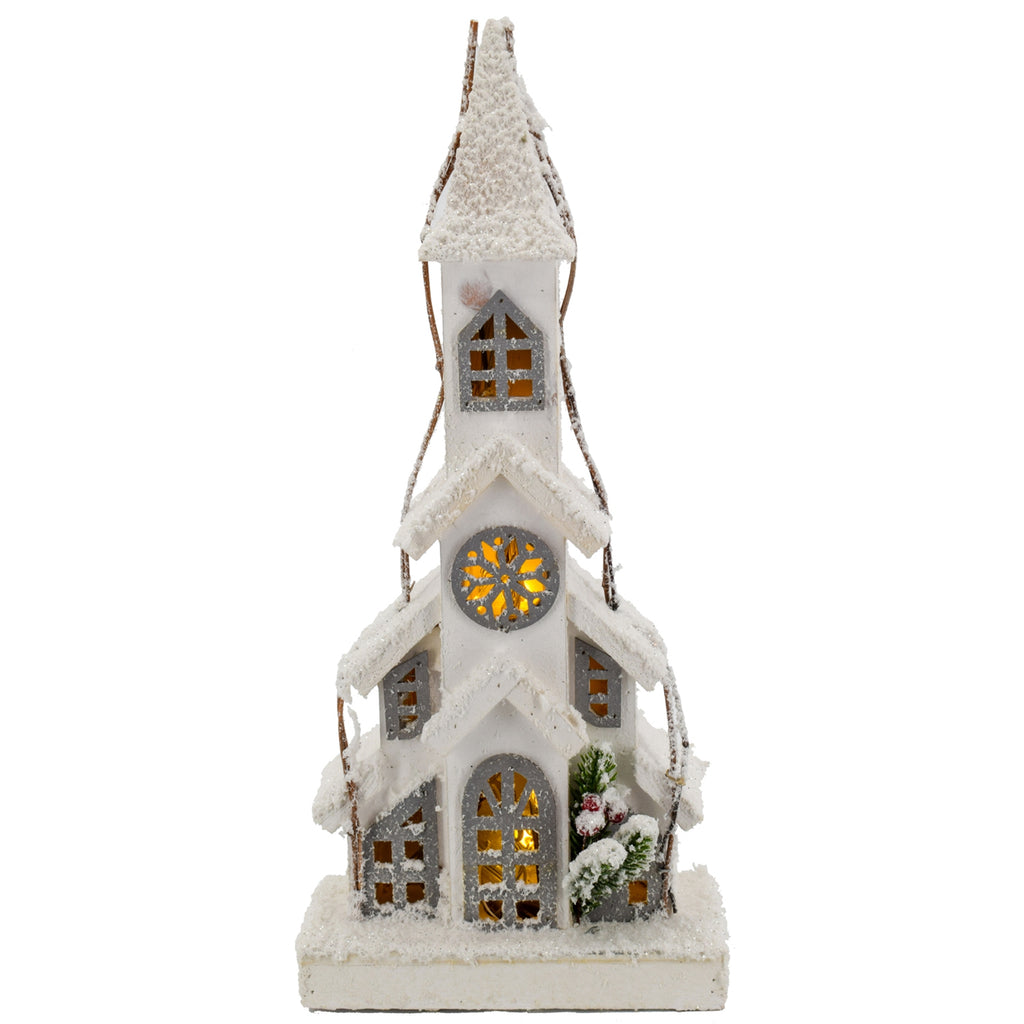 Snow Glitter Church w/ Medallion Window