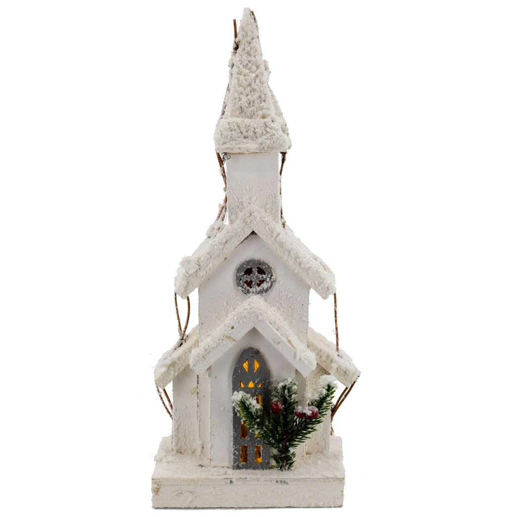 Wood Snow Glitter Church w/ Gothic Door
