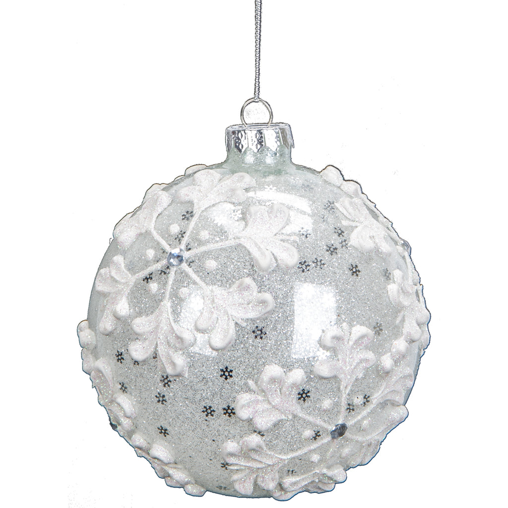 Glass Ball Ornament w/ Snowflake Pattern