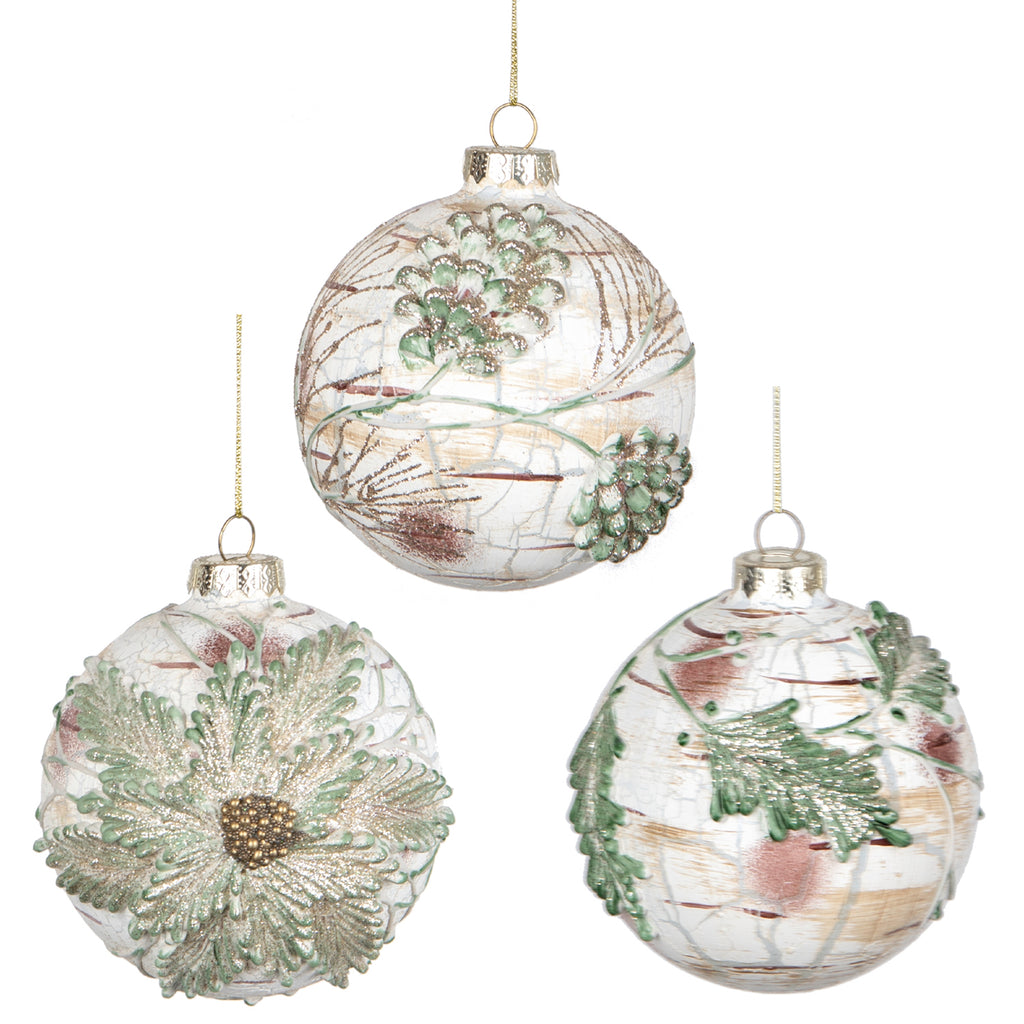 Glass Birch Look Ornaments