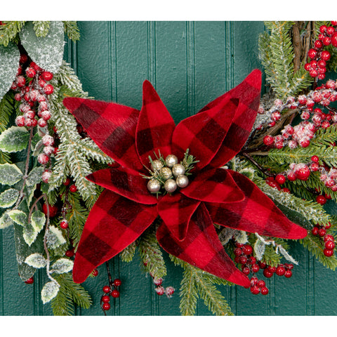 Buffalo Check Poinsettia Clip On Ornament