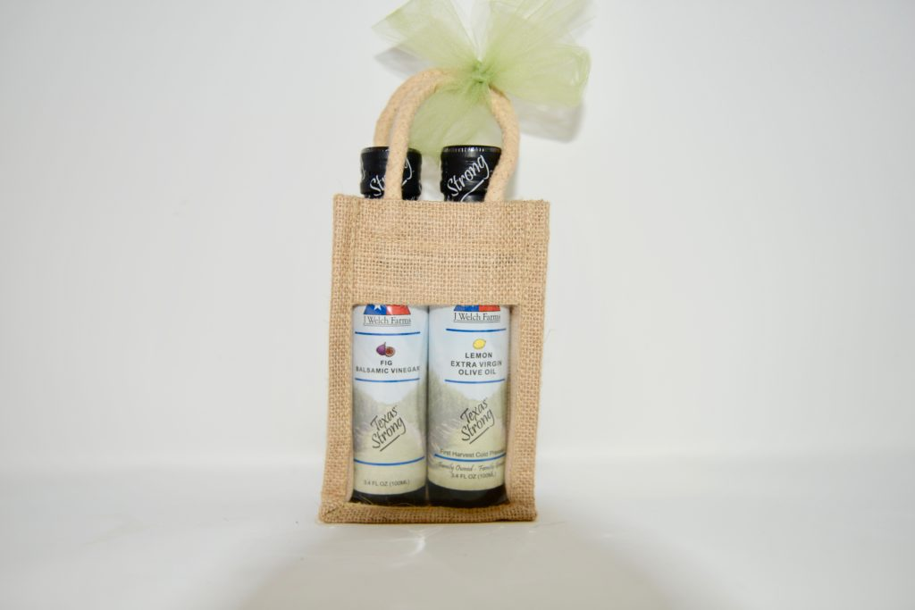 Lemon Olive Oil & Fig Balsamic Vinegar Burlap Bag Gift Set