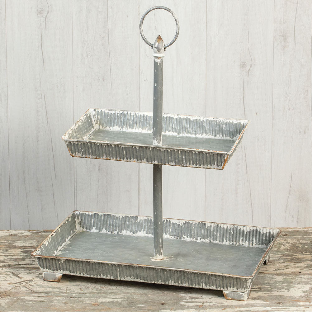 2 TIER RECTANGULAR TRAY STAND