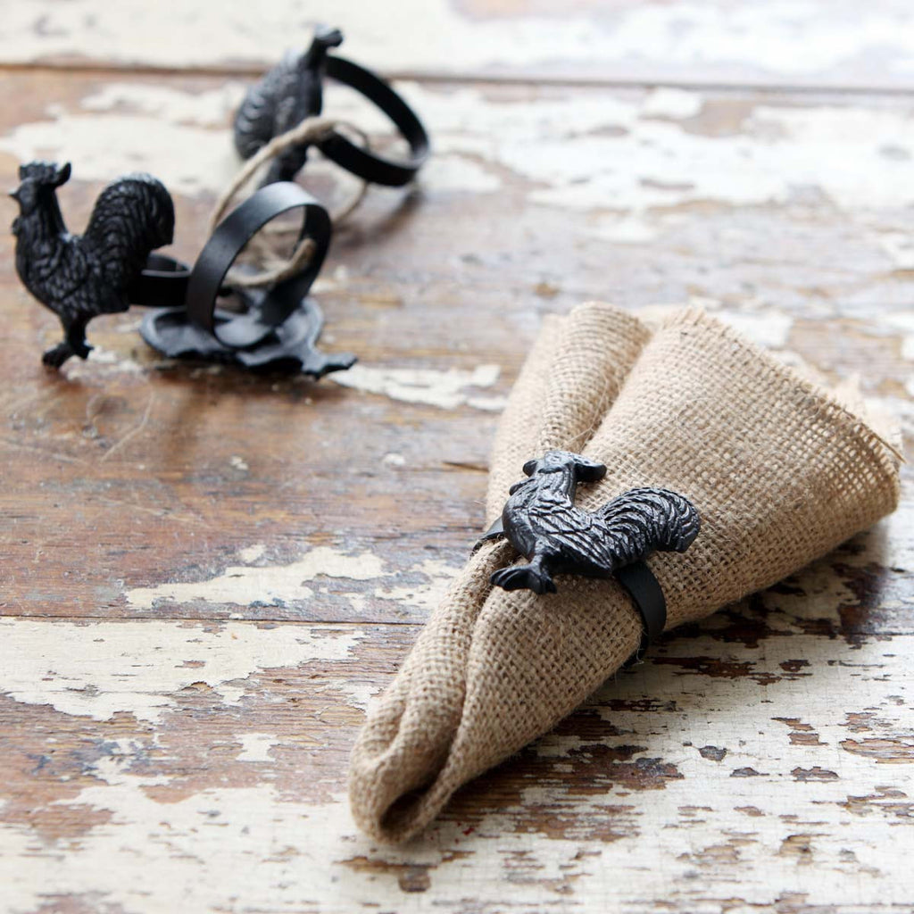 Rooster Napkin Rings Set of 4