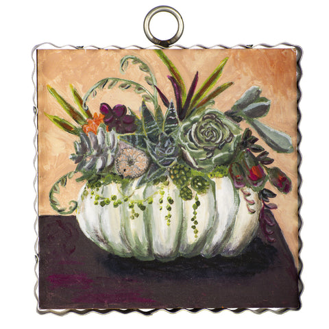 Cream Pumpkin w/ Succulents Mini Gallery Art