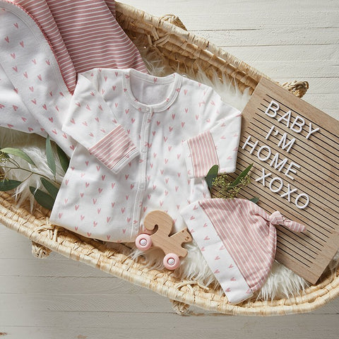 Newborn Gown - Pink Stripe