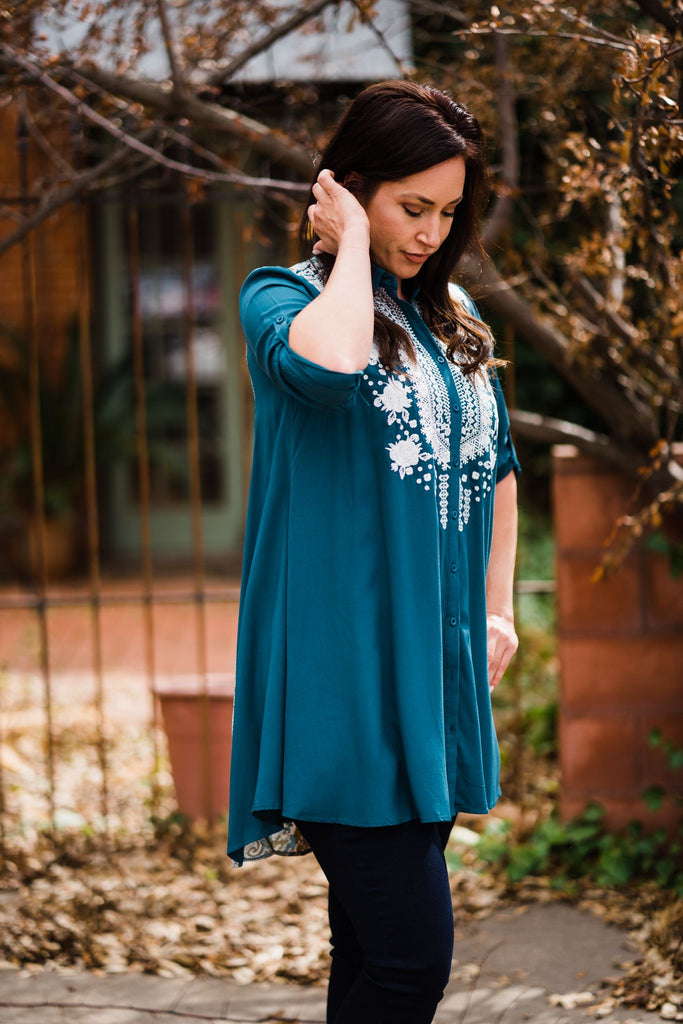 Tonya Teal Embroidered Tunic Dress | Cornell's Country Store