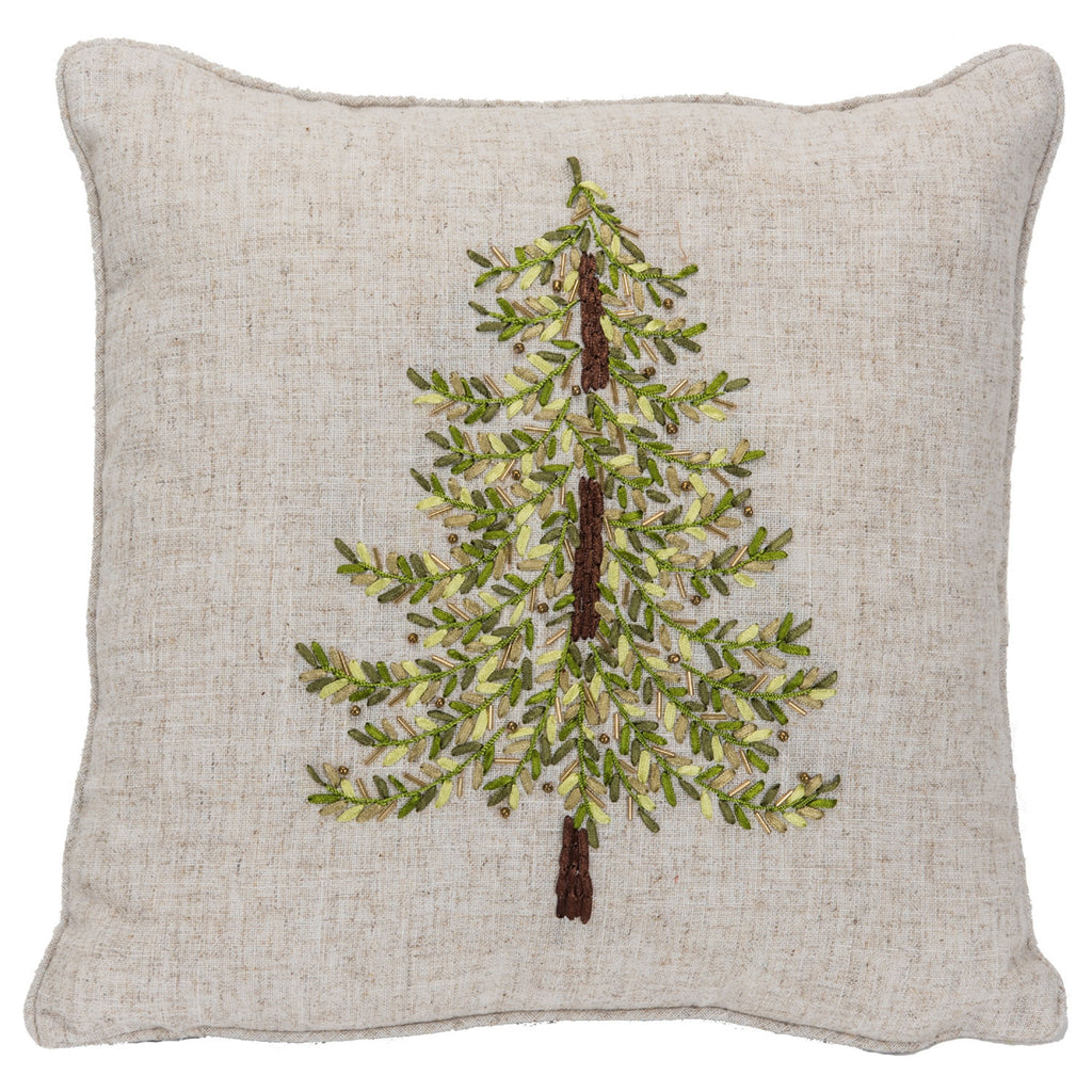 Embroidered Pillow w/Green Ribbon