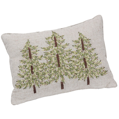 Embroidered Pillow w/Green Ribbon 20 x 14