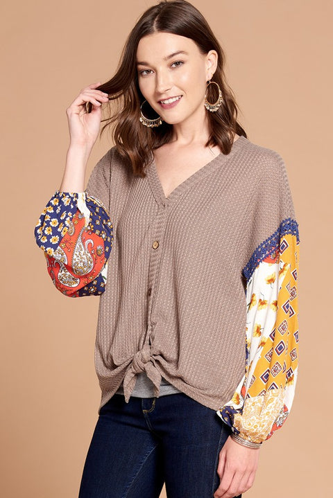 Katy Knit Button Down w/ Printed Sleeves