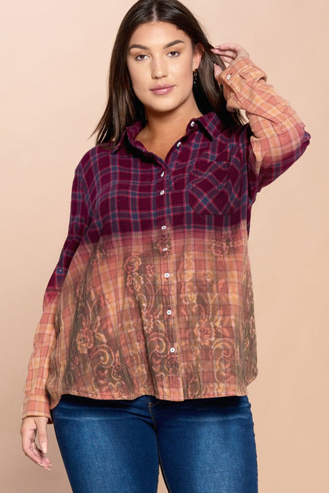 Flannel Ombre Plaid Button Down Shirt