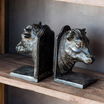 Cast Iron Bovine Bookends