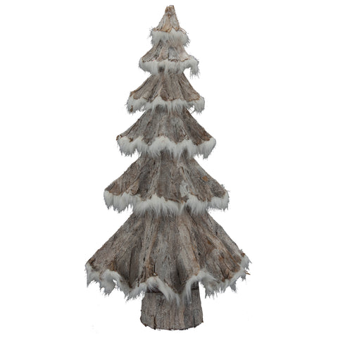 Faux Fur Grey Glittered Trees