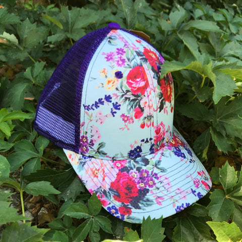 Turquoise Floral Mesh Back Baseball Caps