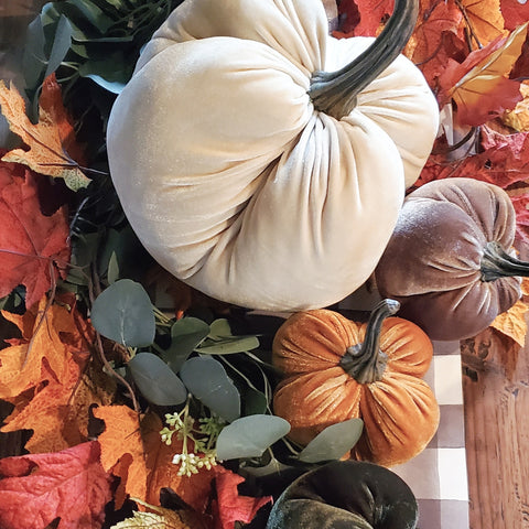 Velvet Weighted Pumpkins, assorted