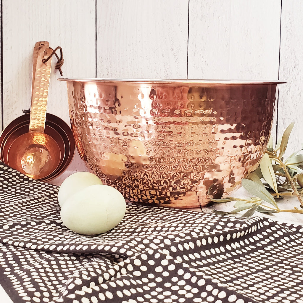 Hammered Stainless Steel Bowls With Copper Finish