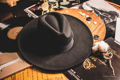 Wide Brim Black Felt Hat | Cornell's Country Store