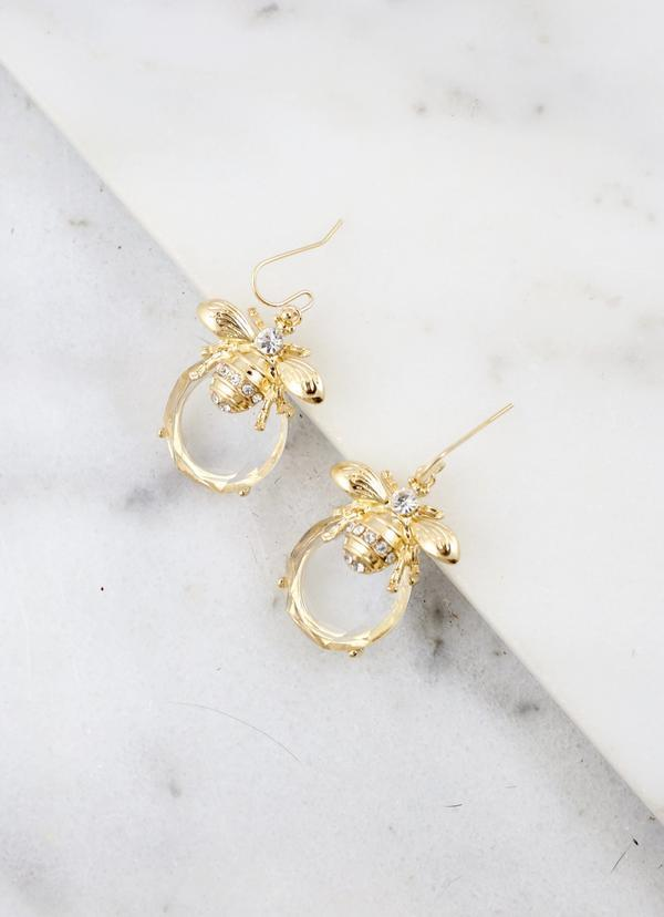 Pilcher Clear Stone Fish Hook Earring With Bee Accent Gold | Cornell's Country Store