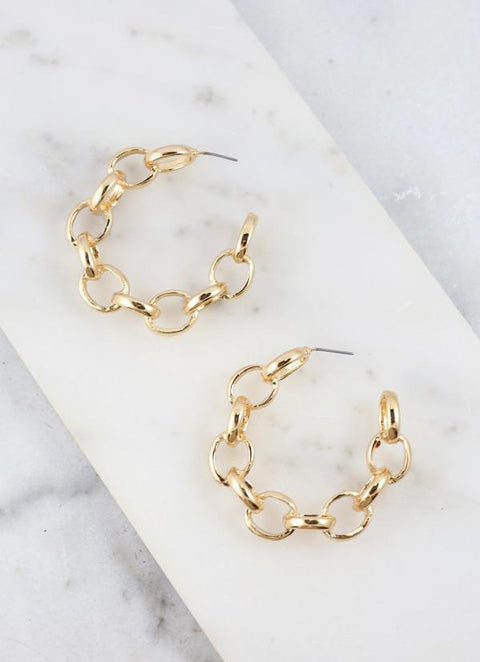 Celia Linked Hoop Earring Gold | Cornell's Country Store