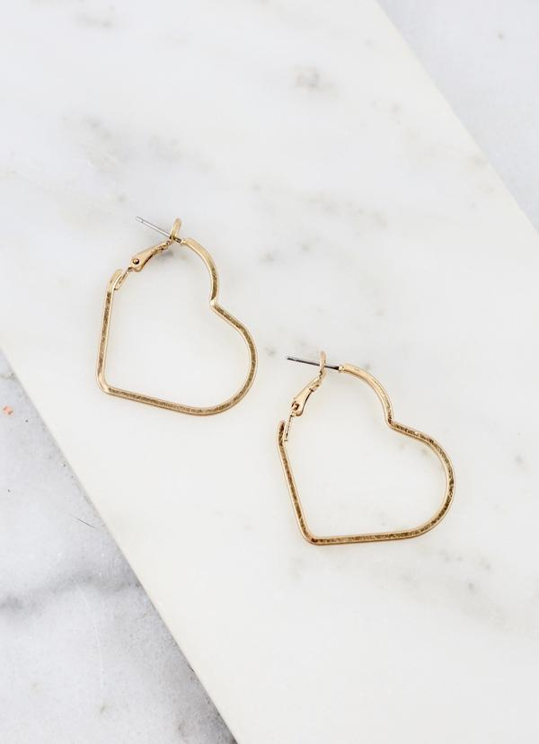 Bernouli Heart Shaped Latchback Hoop Earring Gold | Cornell's Country Store