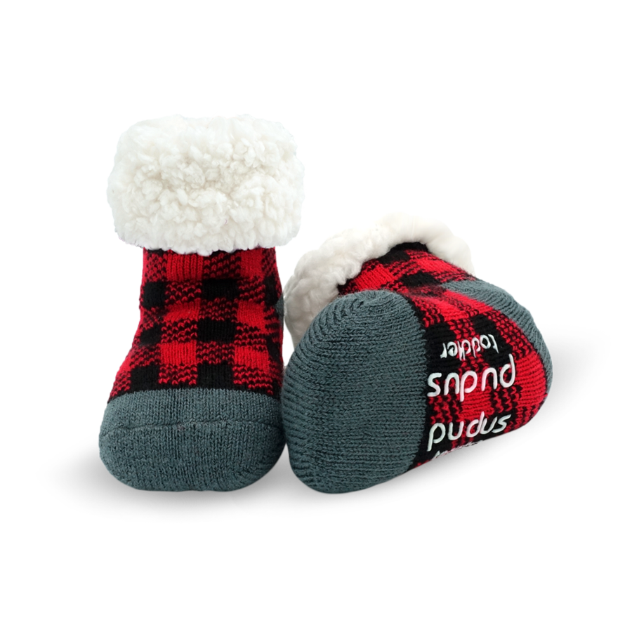 Pudus Lumberjack Red Toddler Slipper Socks