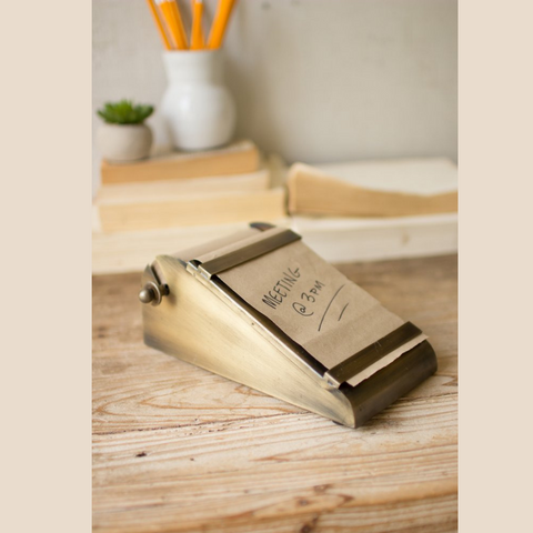 Desk Top Note Roll Dispenser in Antique Brass