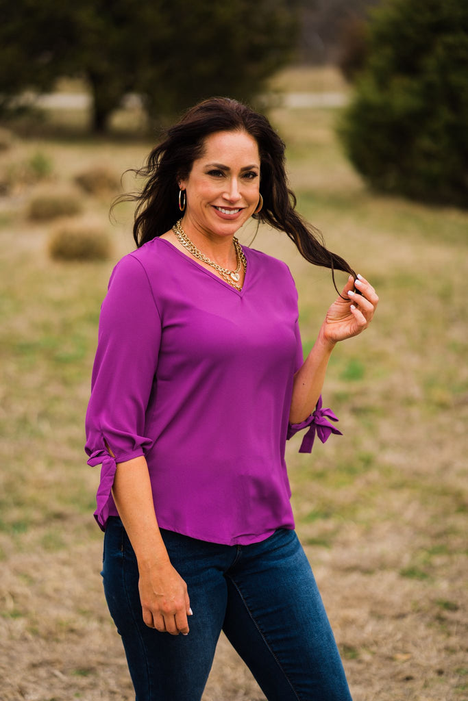 Berry V Neck Tie Sleeve Top | Cornell's Country Store