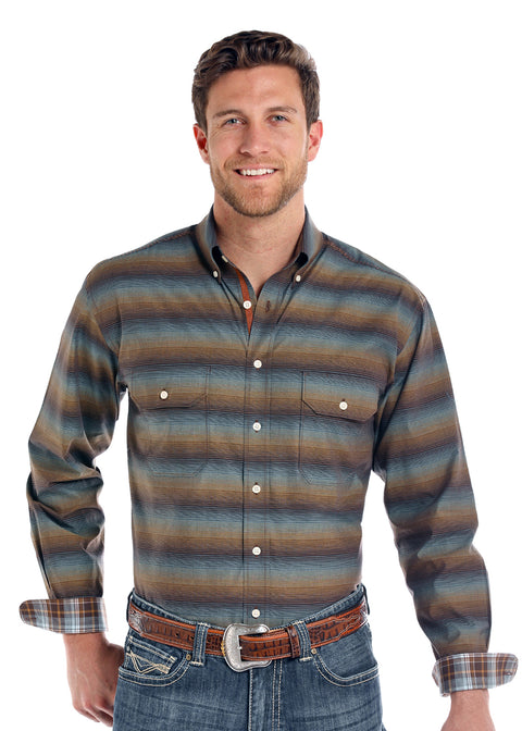 Panhandle Slim Rough Stock Wingo Vintage Ombre Stripe Shirt